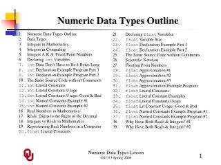 Numeric Data Types Outline