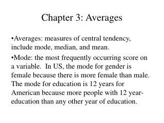 Chapter 3: Averages