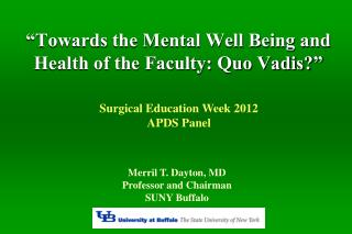 """Towards the Mental Well Being and Health of the Faculty: Quo Vadis?"""
