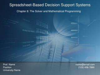 Chapter 8: The Solver and Mathematical Programming