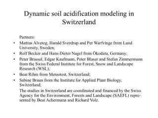 Dynamic soil acidification modeling in Switzerland