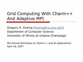 Grid Computing With Charm++ And Adaptive MPI
