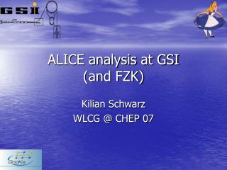 ALICE analysis at GSI (and FZK)