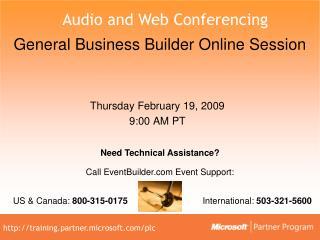 General Business Builder Online Session