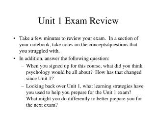Unit 1 Exam Review