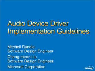 Audio Device Driver Implementation Guidelines