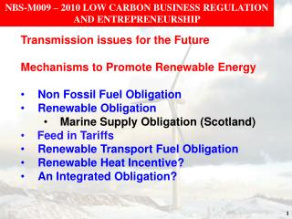 NBS-M009 – 2010 LOW CARBON BUSINESS REGULATION AND ENTREPRENEURSHIP