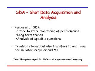 SDA – Shot Data Acquisition and Analysis