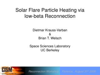 Solar Flare Particle Heating via  low-beta Reconnection