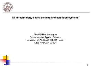 Nanotechnology-based sensing and actuation systems