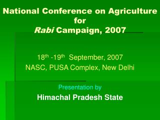 National Conference on Agriculture for  Rabi  Campaign, 2007