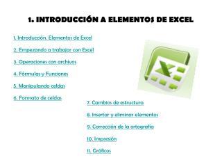 1. INTRODUCCIÓN A ELEMENTOS DE EXCEL