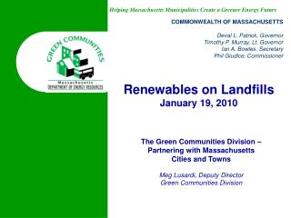 The Green Communities Division – Partnering with Massachusetts Cities and Towns