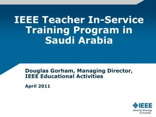 IEEE Teacher In-Service Training Program in Saudi Arabia