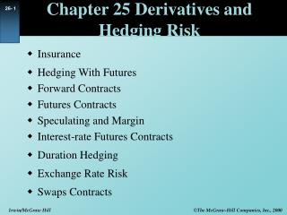 Chapter 25 Derivatives and Hedging Risk