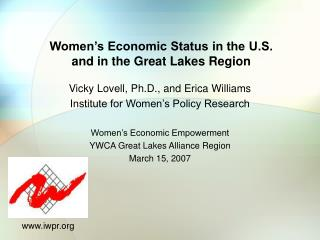 Women's Economic Status in the U.S. and in the Great Lakes Region