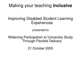 Making your teaching  inclusive