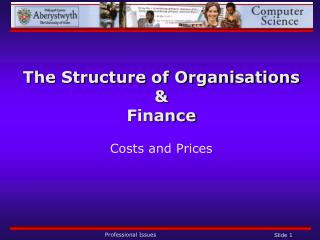 The Structure of Organisations  & Finance