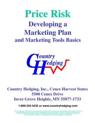Price Risk Developing a Marketing Plan and Marketing Tools Basics