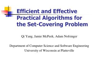 Efficient and Effective Practical Algorithms for the Set-Covering Problem