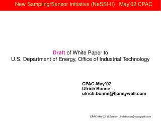 New Sampling/Sensor Initiative (NeSSI-II)   May'02 CPAC