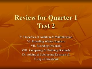 Review for Quarter 1 Test 2