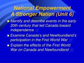 National Empowerment A Stronger Nation (Unit 6)