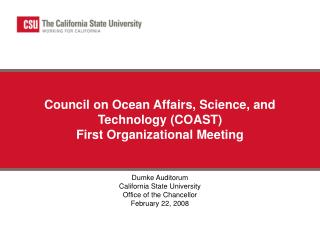 Council on Ocean Affairs, Science, and Technology (COAST)  First Organizational Meeting