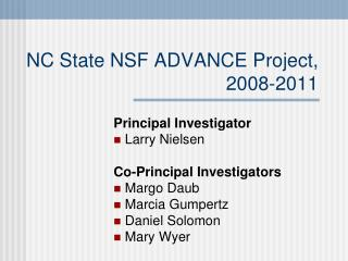 NC State NSF ADVANCE Project, 2008-2011