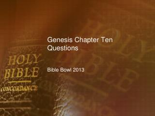 Genesis Chapter Ten Questions