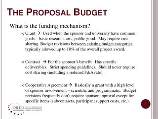 The Proposal Budget
