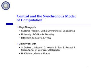 Control and the Synchronous Model of Computation
