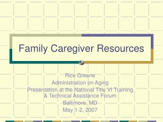 Family Caregiver Resources