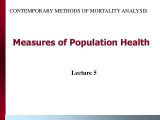 Measures of Population Health