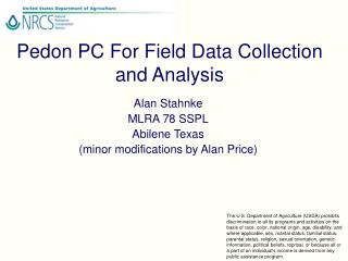 Pedon PC For Field Data Collection and Analysis