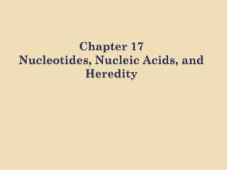 Chapter 17 Nucleotides, Nucleic Acids, and Heredity