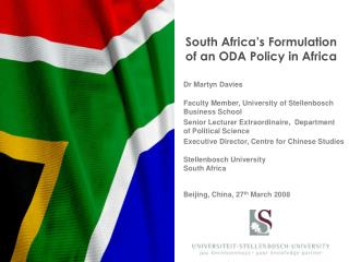 South Africa's Formulation              of an ODA Policy in Africa
