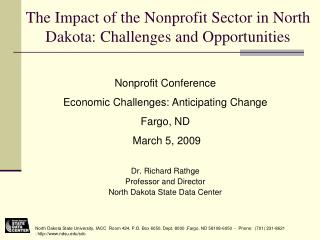 The Impact of the Nonprofit Sector in North Dakota: Challenges and Opportunities
