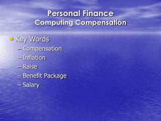 Personal Finance   Computing Compensation