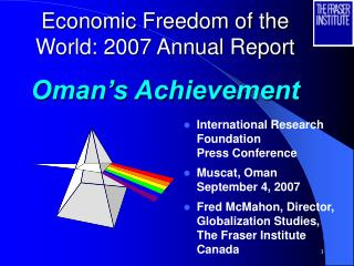 Economic Freedom of the World: 2007 Annual Report Oman's Achievement