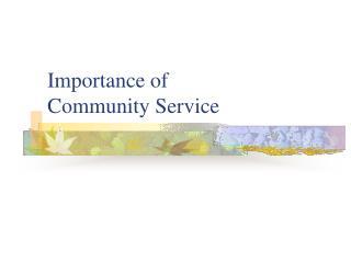 Importance of Community Service