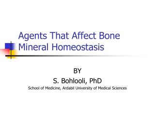 Agents That Affect Bone Mineral Homeostasis