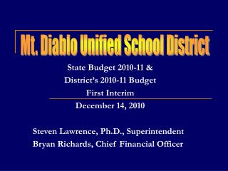 State Budget 2010-11 &  District's 2010-11 Budget First Interim December 14, 2010