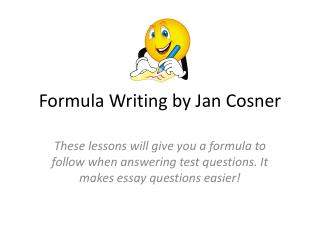 Formula Writing by Jan  Cosner