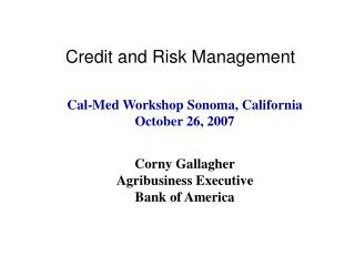 Credit and Risk Management