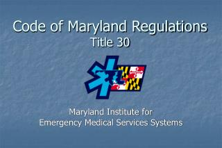 Code of Maryland Regulations Title 30