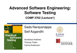 Advanced Software Engineering:  Software Testing COMP 3702 (Lecture1)
