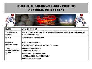Berryhill American legion post 165 Memorial Tournament