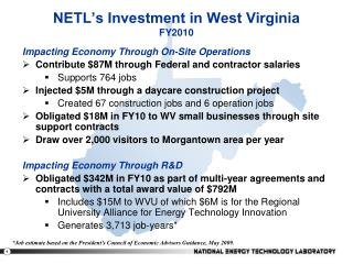 NETL's Investment in West Virginia FY2010