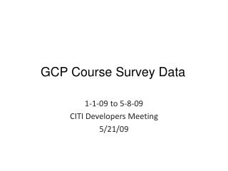 GCP Course Survey Data